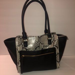 Liz Claiborne snakeskin tote purse like new!